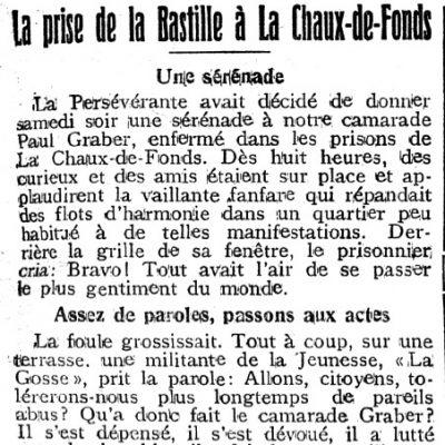 19 mai 1917, «Prise de la Bastille» à La Chaux-de-Fonds
